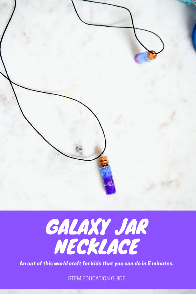 How to these Galaxy Jar Necklaces. They only take 5 minutes! All you need is paint, cotton balls, and glitter!  Great craft for kids that could make a great art project alongside a lesson about space.
