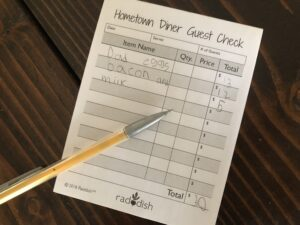 Home town diner guest check book