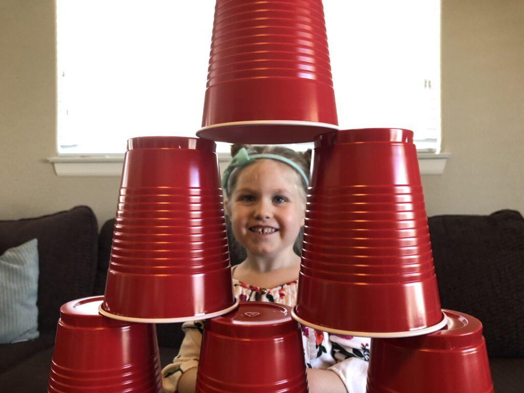 Kids Kindergarten Cup Tower Challenge