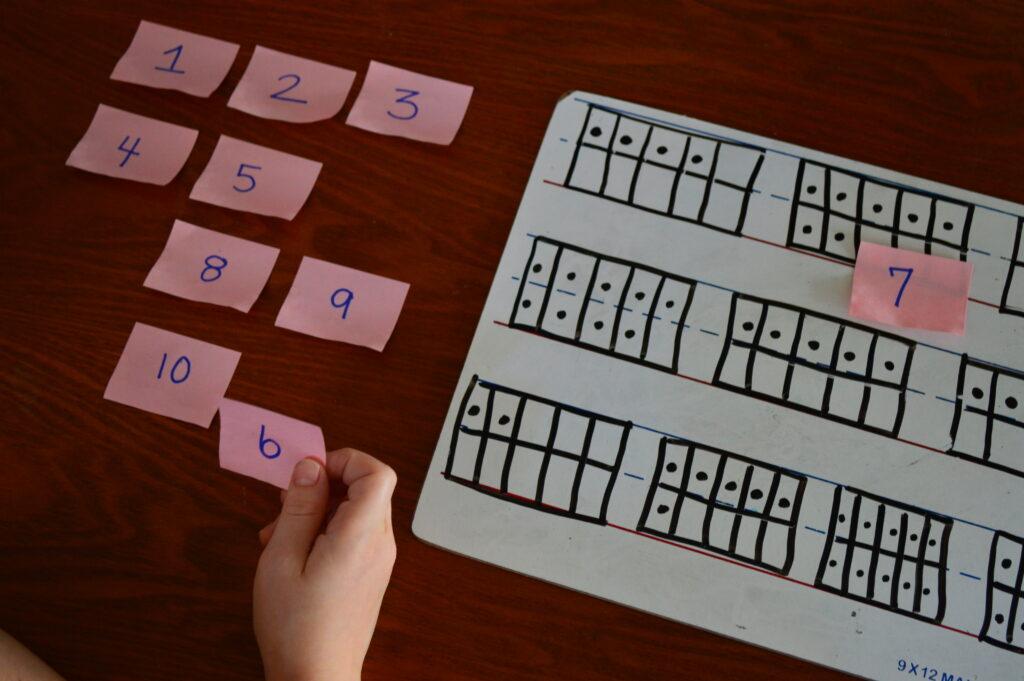 kids Sticky Note Number Match activity