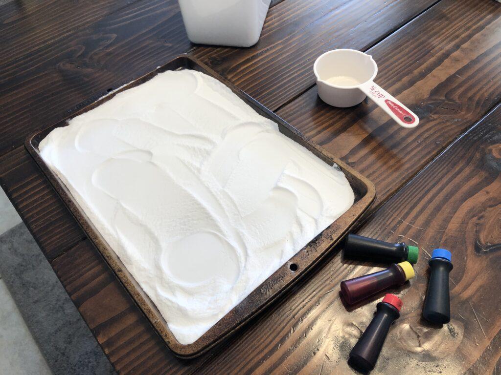 baking sheet with baking soda on it