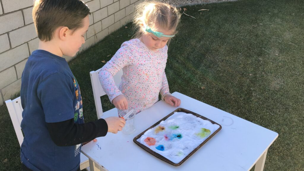Making rainbows with baking soda STEM experiment