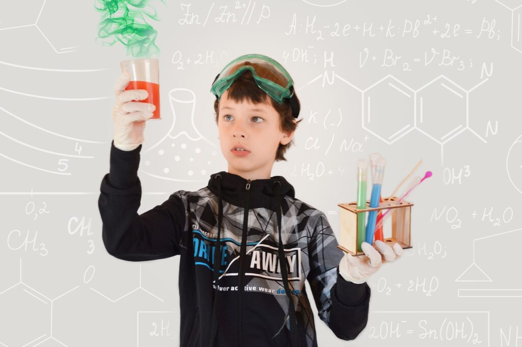 Boy with Chemicals in Hand