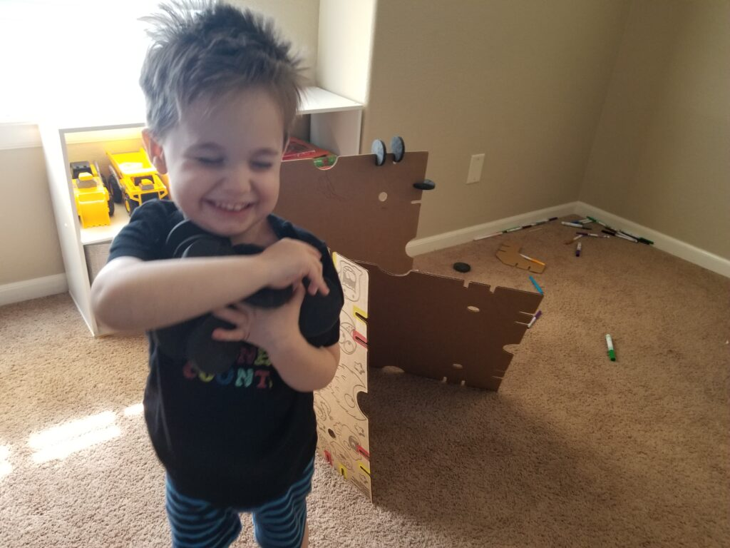 My Two-Year-Old Was More Interested in Playing With the Foam Pucks Than Helping the Other Kids Build.